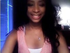 Jaw-dropping Ebony Teenager Playing on Webcam with Me