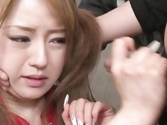 Ponytailed chinese japanese babe gets  facial