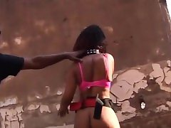African teenie corded and gargles cock outdoors