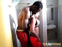 Real African unexperienced cockslut toilet fuck