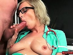 Big-chested cougar handjob with jizz flow
