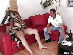 Older husband watching wifey riding another cock
