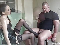 Strapped man submissed by European domina! Great Femdom!