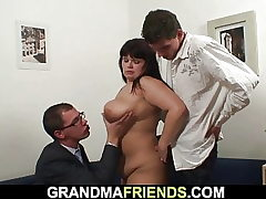 Round fat boobs mom threesome intercourse