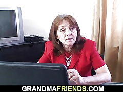 Office mature lady swallows two beefsticks at once