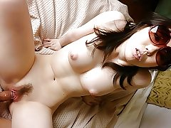 Japanese brunette, Chika Aratani is getting banged at home,