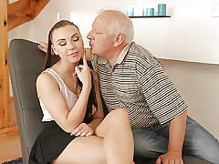 DADDY4K. Old gent easily entices beautiful redhead to..