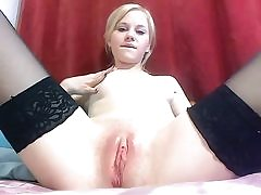 Hot blonde sucks dildo and shows pussy