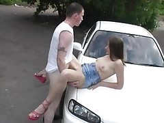 Elderly mature fellow pounds young teenager outdoor