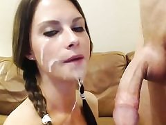 Ponytailed huge-boobed hottie inhales and smashes cock
