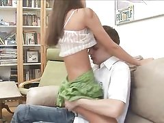 Bony unexperienced stunner railing bf's dick on sofa