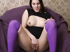 Scorching brunette slut gets cumload on her face