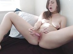Nice pretty lady pounding her pussy with dildo