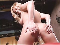 Blonde solo bitch loves sport and fuck stick
