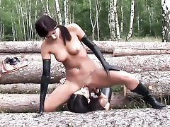 Mischievous bitches wearing spandex in the forest and sucking their cootchie slots