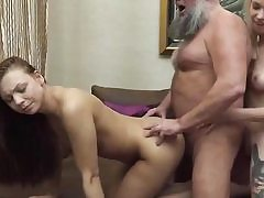 A blonde and a brunette in old and youthful three way hard bang-out video