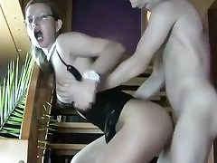 Nasty bitch pulls up her leg and gets that pussy bashed tough