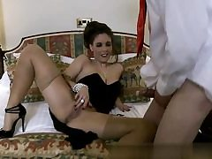 Super-steamy nymph on high high-heeled slippers rubbin' her jewel in front of her boyfriend