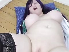 Big titted super-bitch tearing up her shaved vagina with a giant pink faux-cock
