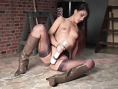 Truly cool babe in her fine undergarments wanking with giant dildo