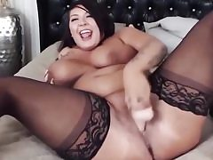 Curvy sweetie with monstrous clapping breast plays with a monstrous fuck stick