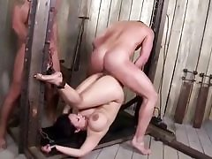 Kinky large boobed Asian cougar banged rough in a kinky three-way