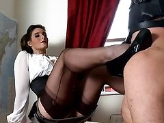 Horny tutor fucks her snatch with a sex toy and fellates on his strap-on