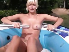 Blonde fuckslut is swimming on the boat and blows a huge fat donger