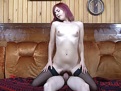 Quickie with red-haired in nylons