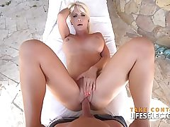 Naked blonde outdoors swallowing a huge fat dick