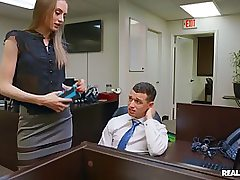 Smoking scorching office woman is hammered on the table