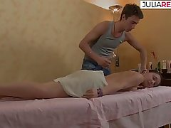 Mischievous teenie on massage bed getting her fuck-hole fingered